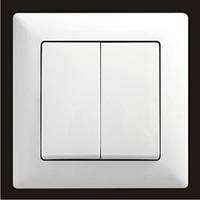Выключатель двухклавишный Gunsan Visage, белый
