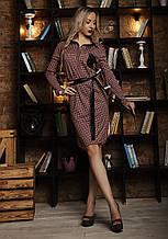 Платье мод №533-1, размеры 46-48, мелкая красная клетка