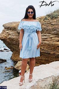 Женское летнее миди платье с коротким рукавом и открытыми плечами+пояс (отделка кружево) 2 цвета (батал)