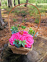 Мильний букет KupuiDarui в кашпо Ручна робота Рожеві бегонії 400 г (000321)