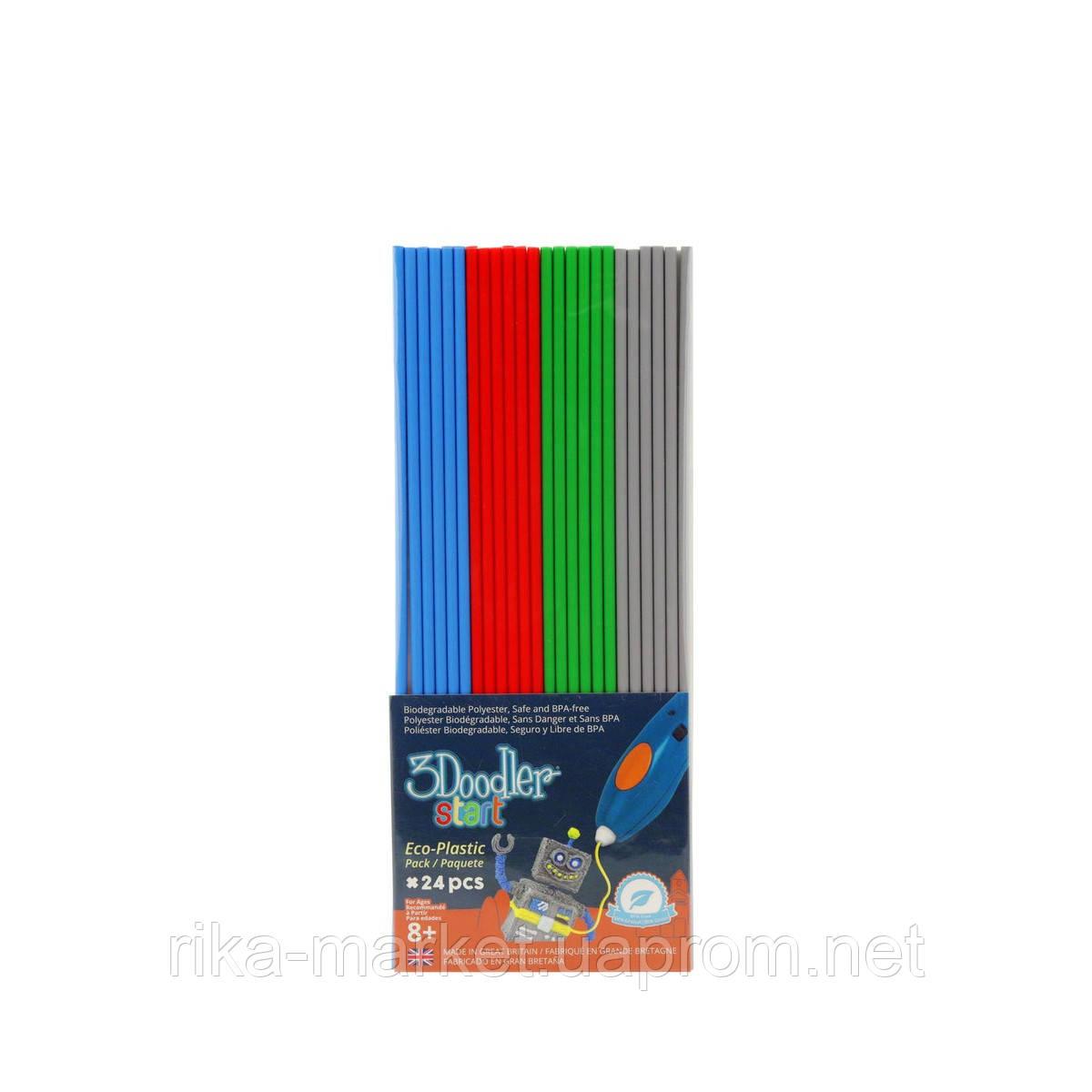 Набор стержней для 3D-ручки 3Doodler Start - МИКС (24 шт: серый, голубой, зеленый, красный)
