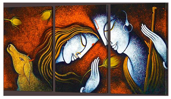 Модульная картина Interno Искусственный холст Радха и Кришна 124x70см (Z868L)