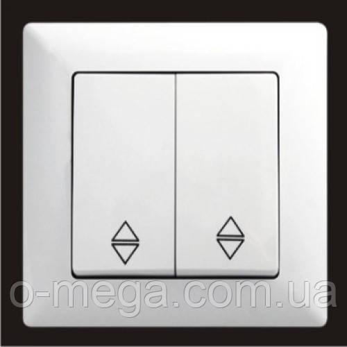 Выключатель проходной, двухклавишный Gunsan Visage, белый