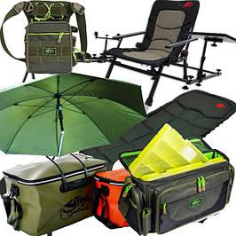 Рыбалка: карповые кресла, зонты-палатки, ящики и сумки для рыбалки