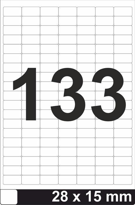Этикетки самоклеящиеся 28×15мм - 133 шт на листе А4 (100 листов)