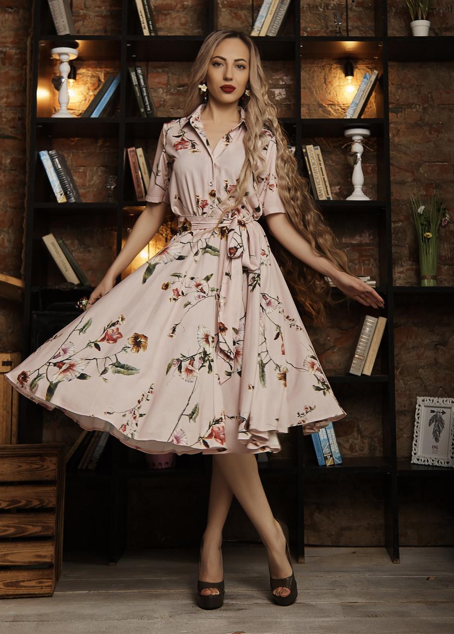 Платье мод 589-2 ,размер 44 пудра