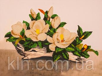 Якісний набір вишивки бісером на полотні FLF-019 Біла орхідея 30*40 якісний