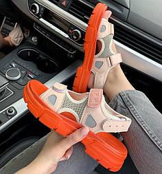 Женские сандалии босоножки Gucci Sandals Orange/Pink оранжевые с роз. Живое фото. Топ качество. (Реплика ААА+)