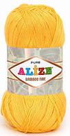 Пряжа Alize Bamboo Fine желтый №216 Бамбуковая для Ручного Вязания