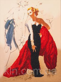 Набір для вишивання бісером FLF-020 Світська дама 30*40 якісний