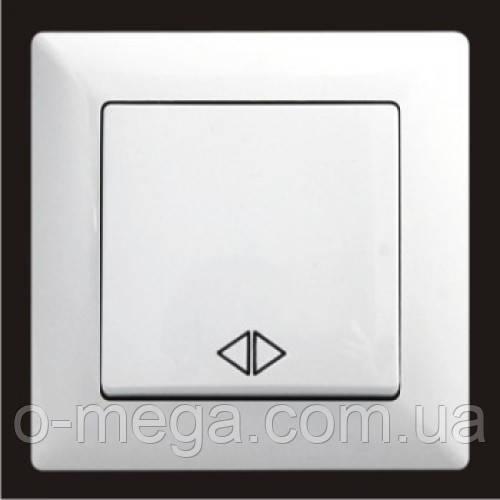 Выключатель промежуточный (перекрестный), одноклавишный Gunsan Visage, белый