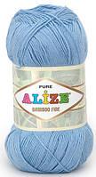 Пряжа Alize Bamboo Fine светло-голубой №481 Бамбуковая для Ручного Вязания