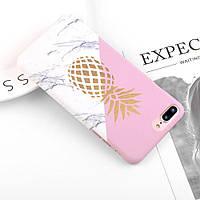 "Защитный чехол ""Pineapple"" для смартфона Apple iPhone 6/6s/6+/7/8/7+/8+/X/XS с ярким розовым принтом"