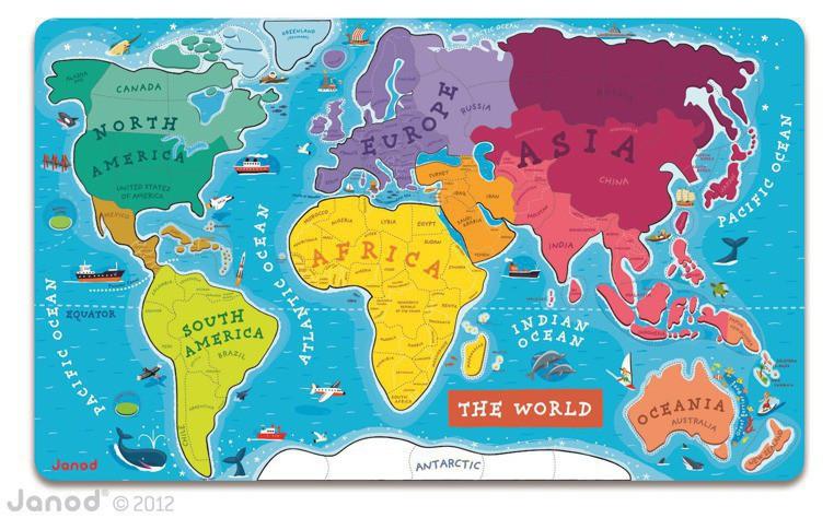 """Janod - магнитный пазл """"Карта мира"""" (англ.язык)"""