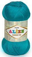 Пряжа Alize Bamboo Fine бирюзовый №484 Бамбуковая для Ручного Вязания