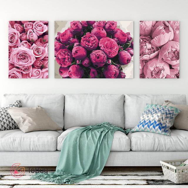 Размещение 3 картин по номерам разной ориентации стене