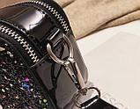 Сумка жіноча Camera Bag з блискітками і текстильним ремінцем в стилі Marc Jacobs (срібляста), фото 5
