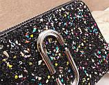 Сумка жіноча Camera Bag з блискітками і текстильним ремінцем в стилі Marc Jacobs (срібляста), фото 8