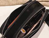 Сумка жіноча Camera Bag з блискітками і текстильним ремінцем в стилі Marc Jacobs (срібляста), фото 9