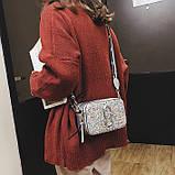 Сумка жіноча Camera Bag з блискітками і текстильним ремінцем в стилі Marc Jacobs (срібляста), фото 2