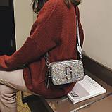 Сумка жіноча Camera Bag з блискітками і текстильним ремінцем в стилі Marc Jacobs (срібляста), фото 3