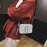 Сумка жіноча Camera Bag з блискітками і текстильним ремінцем в стилі Marc Jacobs (срібляста), фото 4