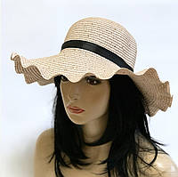 "Шляпа женская с паетками "" Волна""(цвет пудра)"