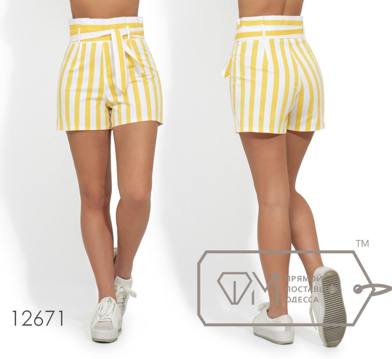 Коттоновые шорты в полоску, желтый