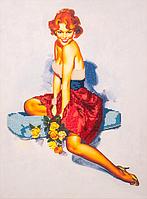 Набор для вышивания бисером FLF-021Девушка с розами30*40  качественный