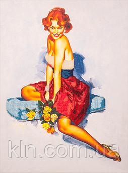 Набір для вишивання бісером FLF-021 Дівчина з трояндами 30*40 якісний