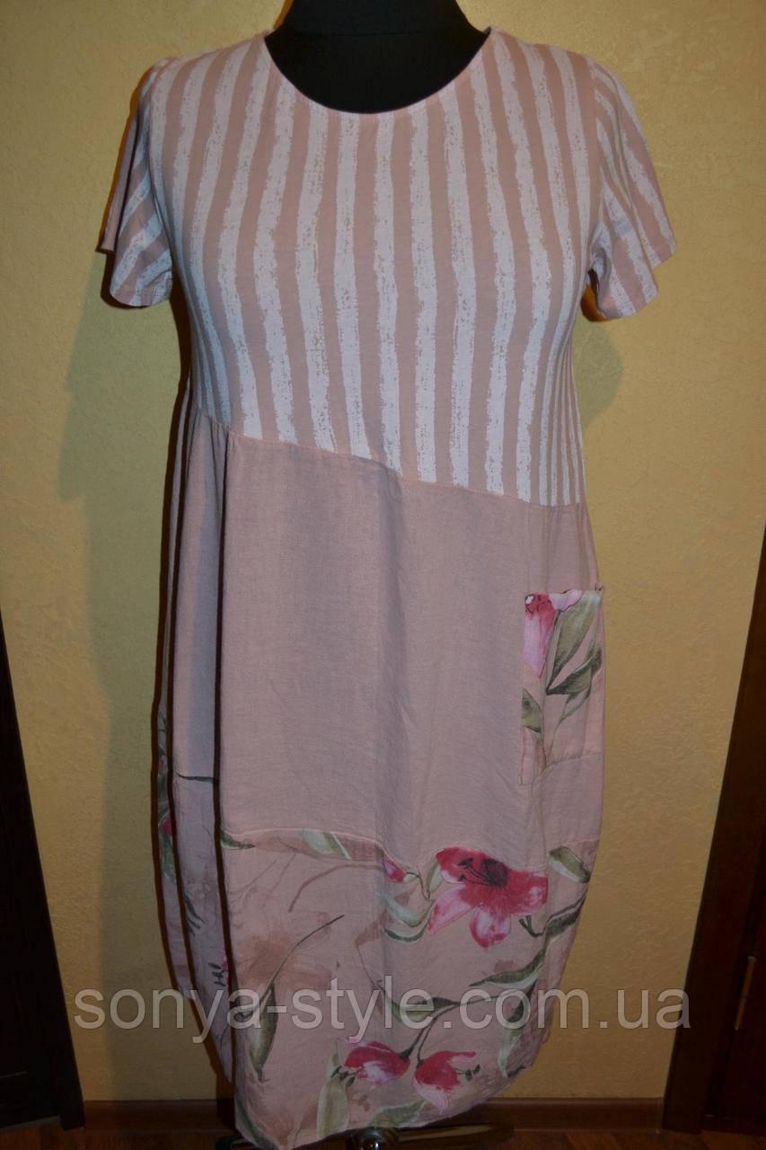 """Женское платье """" с  цветами   """" больших размеров"""