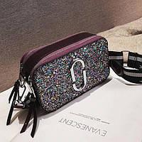 Сумка женская Camera Bag с блестками и текстильным ремешком в стиле Marc Jacobs  (фиолетовая)