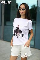 Тренд 2019 летний женский костюм футболка с принтами и шорты