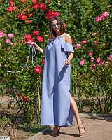 Женское длинное летнее платье свободное лен-габардин размер 42-46 универсальный