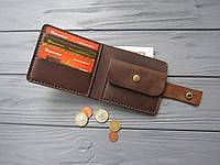 Классическое кожаное мужское портмоне Oskar ручной работы_ темный шоколад