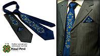"""Мужской вышитый набор: галстук с платком """"Любовир"""""""