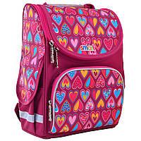 """Рюкзак шкільний,каркасний для дівчинки PG-11 """"Hearts Style"""", SMART"""