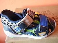 Босоножки клиби для мальчика голубые с зеленым,21-26 размер.