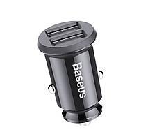 Автомобильное зарядное устройство адаптер Baseus Dual Usb 5V 3.1A быстрая зарядка на два порта в черном цвете