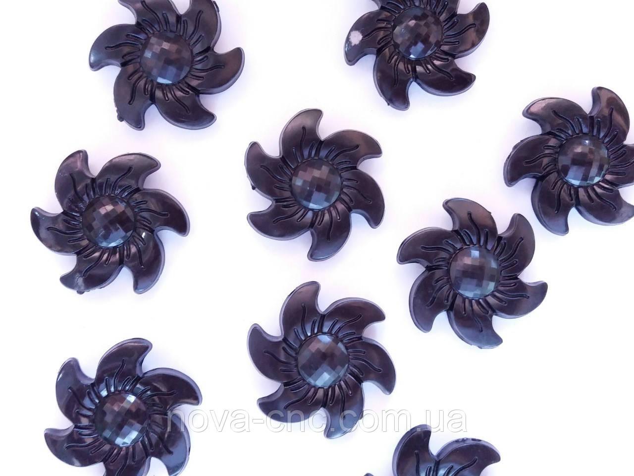 """Намистини """"Квітка"""" чорний 30 мм"""