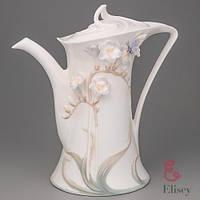 """Фарфоровый Заварочный чайник Veronese """"Бабочка в цветке"""" (21 см)"""