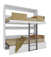Шкаф кровать трансформер двухъярусная ШКГ2 90 см х 190 см Белый (11400)