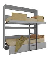 Шкаф кровать трансформер двухъярусная ШКГ2 90 см х 190 см Серый (11600)