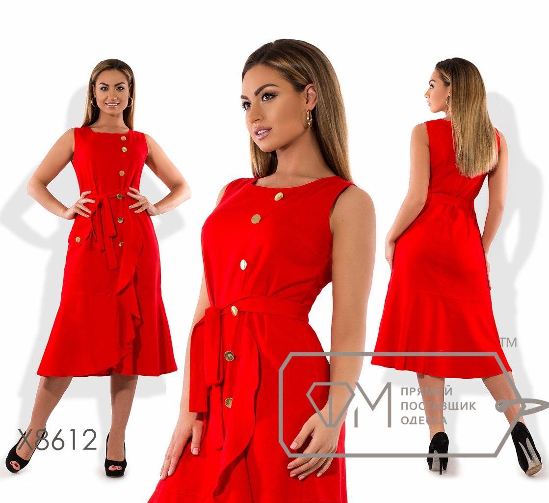 Однотонное платье из льна, красный