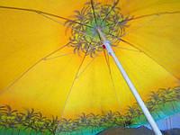 Парасолька діаметром 1,7 м. Система ромашка. Срібне покриття. Пальми, фон Жовтий