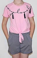 Стильная детская футболка на завязках, для девочек, розовая, рост 152 см, 164 см, Ля-ля