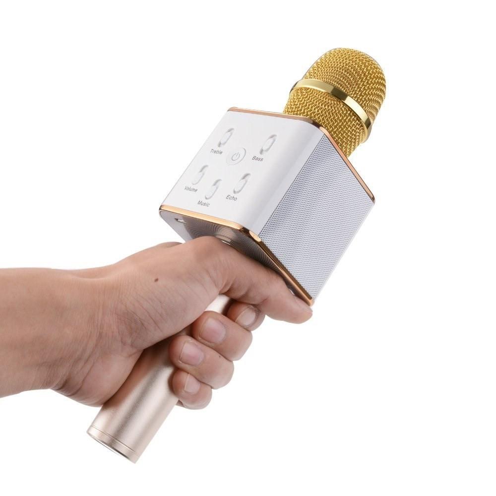 Беспроводной микрофон караоке bluetooth Q7 Золотистый