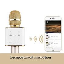 Беспроводной микрофон караоке bluetooth Q7 Золотистый, фото 3