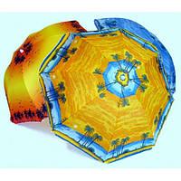 Зонт диаметром 2 м. Пластиковые спицы с клапаном. Цвет: Пальмы, фон Оранжевый