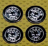 Комплект модельных наклеек на автомобильные диски, 4 шт., Skoda, Black